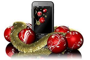 Картинки Рождество Белый фон Телефон Шарики 3D Графика