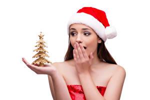 Картинка Новый год Белый фон Шапки Елка Руки Удивление Девушки