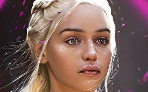Картинки Emilia Clarke Дейенерис Таргариен Игра престолов (телесериал) Лицо Взгляд Фильмы Девушки
