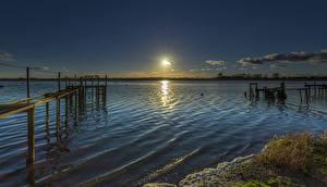 Фотографии Англия Речка Рассвет и закат Причалы Mudeford Природа