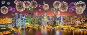 Фото Салют Дома Сингапур Ночные Мегаполис