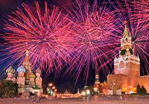 Фотография Салют Москва Россия Московский Кремль