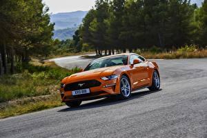 Обои Форд Оранжевый 2018 Mustang GT Автомобили