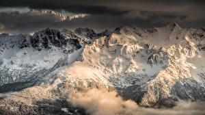 Картинка Франция Горы Альпы Снег Туман Sarcenas