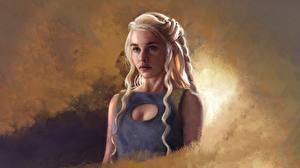 Фотография Игра престолов (телесериал) Дейенерис Таргариен Рисованные Блондинка Фан АРТ Девушки