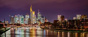 Обои Германия Франкфурт-на-Майне Здания Реки Мост Ночью