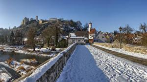 Фотографии Германия Здания Мост Зимние Бавария Снега Harburg город