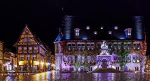 Обои Германия Дома Ночью Улиц Кафе Уличные фонари Quedlinburg Города