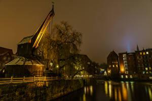 Фотографии Германия Здания Реки Вечер Деревья Luneburgo Saxony Города