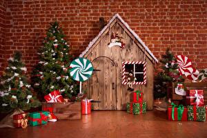 Фотография Праздники Рождество Интерьер Дома Стена Дизайна Новогодняя ёлка Подарки
