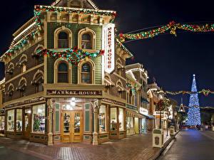 Фотография Праздники Рождество Штаты Диснейленд Парки Здания Анахайм Улица Калифорния Ночь Города