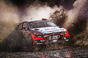Картинки Hyundai Гонки В грязи С брызгами i20 WRC Автомобили