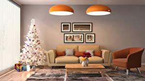 Картинки Интерьер Праздники Рождество Дизайн Елка Диван Подарки Кресло 3D Графика