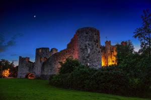 Фото Ирландия Замки Ночь Кусты Trim castle