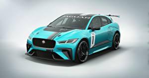 Обои Jaguar Стайлинг Серый фон 2017 I-Pace eTrophy Автомобили