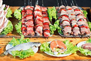 Картинка Мясные продукты Шашлык Рыба Овощи Пища