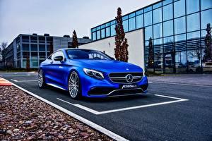 Картинки Mercedes-Benz Синий Купе AMG C217 S-Class