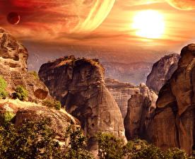 Картинка Горы Рассветы и закаты Утес Природа