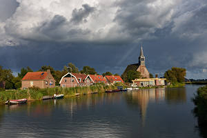 Картинки Нидерланды Здания Реки Причалы Облака Oudendijk Города