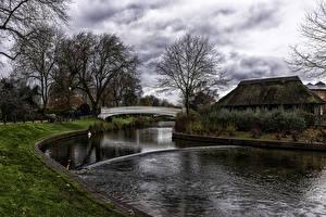 Фото Нидерланды Речка Здания Мосты Stafford River Sow Природа