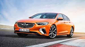 Обои Опель Оранжевый Седан 2018 Insignia GSi Автомобили