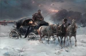 Фотографии Картина Лошади Зимние Карета Снег Alfred Kowalski-Wierusz