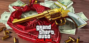 Обои Пистолеты GTA Револьвер Золотой online Игры