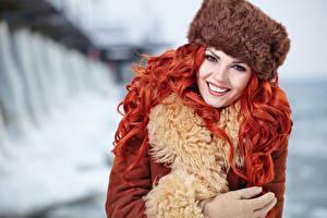 Фотографии Рыжая Шапки Улыбка Красивые