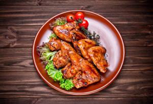 Картинка Курица запеченная Овощи Томаты Доски Тарелка Еда