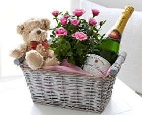 Фото Розы Игристое вино Плюшевый мишка Корзина Розовый Бутылка Цветы