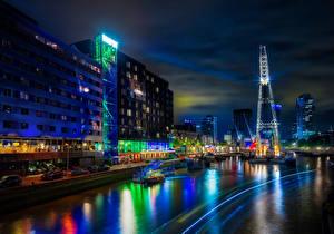Картинка Роттердам Нидерланды Здания Реки Причалы Ночь