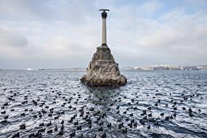 Обои Россия Крым Море Памятники Sevastopol, Monument to the Scuttled Ships Природа