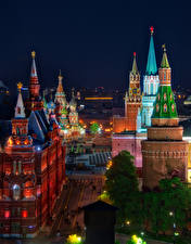 Фотографии Россия Москва Дома Московский Кремль Улица HDR Ночные