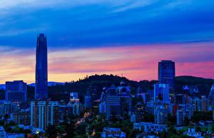Фотографии Сантьяго Чили Дома Небоскребы Вечер