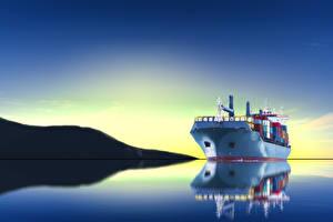 Фото Море Корабли Рассветы и закаты Отражение
