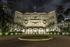 Фотография Сингапур Рождество Праздники Здания Вечер Электрическая гирлянда