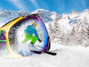Фотография Сноуборд Зимние Очки Отражение Спорт