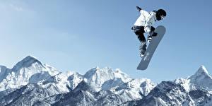 Фотография Сноуборд Зима Мужчины Горы Прыжок