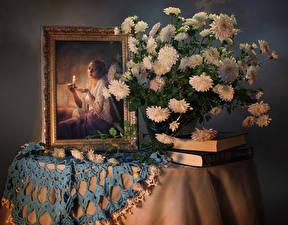 Картинка Натюрморт Букеты Хризантемы Живопись Стол Книга цветок