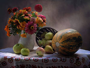 Обои Натюрморт Букет Бархатцы Тыква Яблоки Груши Цветы Еда