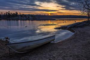 Картинка Швеция Побережье Вечер Реки Лодки Природа