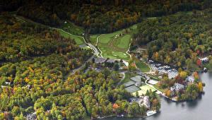 Фото Штаты Осенние Леса Причалы Поля Lake Toxaway Carolina