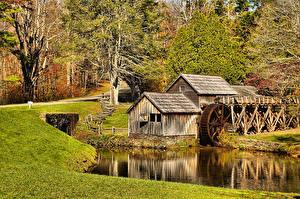 Фотография США Осень Водяная мельница Mabry Mill Virginia