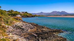 Картинка Великобритания Берег Здания Залив Уэльс Porthmadog Природа