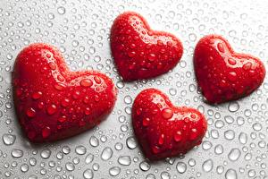 Картинка День святого Валентина Сердце Капли Красный