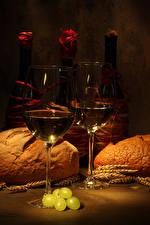 Фото Вино Хлеб Виноград Бутылка Бокалы Колос Еда