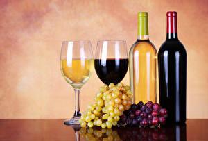 Картинки Вино Виноград Бутылка Бокалы 2 Пища