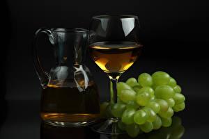 Обои Вино Виноград Кувшин Бокалы Еда