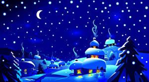 Картинки Зимние Небо Векторная графика Снег Луной Ночные Ель Природа