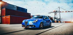 Обои Альфа ромео Голубые 2017 Giulietta Sport автомобиль